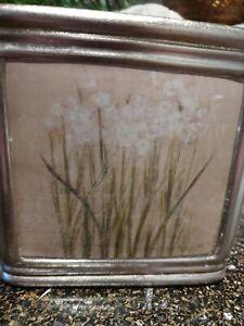 """Croscill Orchids & Narcissus Ceramic Tissue Box Cover, used 6""""x6""""x6"""" Cheri Blum"""