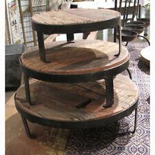 "Reclaimed Wood & Metal Risers / Stands On Feet Set 3 Primitive 8""- 12"" Diameter"