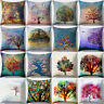 EE_ MULTI-COLOR TREE SQUARE THROW PILLOW CASE WAIST CUSHION COVER HOME DECOR ORN