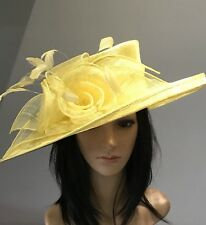 NIGEL RAYMENT YELLOW WEDDING ASCOT HAT  MOTHER OF THE BRIDE FORMAL OCCASION