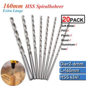 ️20tlg HSS Spiralbohrer Metallbohrer Lang Edelstahlbohrer Bohrer 2/3/4/5/6mm
