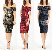 New Ladies Bardot off Shoulder Sequin Midi Dress, MS