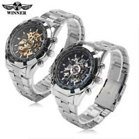 WINNER Mens Watches Automatic Mechanical Skeleton Stainless Steel Wrist Watch