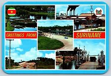 Greetings from Paramaribo, Suriname Multiple Views Places Continental Postcard
