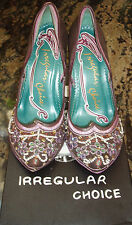 SALE NWB ' IRREGULAR CHOICE ' BROWNS / PASTELS ULTRA FABULOUS 40.5 SEQUIN SHOES