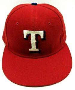TEXAS RANGERS hat vintage fitted red cap 100% wool  size 6 7/8 S - USA Made