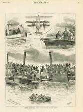 1883 - Antique Print LONDON Oxford Cambridge Boat Race Putney Bridge  (089)
