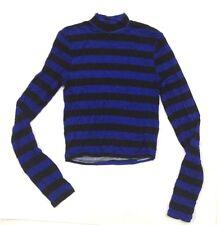 RUE21 Women's T-Shirt Blouse LongSleeve StripeTop Turtleneck Black Blue L    A32
