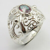 925 Sterling Silver Women Fashion Jewelry Oval MYSTIC TOPAZ Ring Size 7