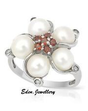 $450 FPJ Ring Genuine DIAMOND Garnets 6-6.5mm Freshwater Pearls Silver 60% OFF