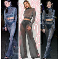 Ladies See Through 2Pcs Shimmer Mesh Set Long Sleeves Top Palazzo Party Trousers