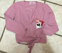 NWT Capezio Dark Pink Ballet Dance Wrap Top Warm Up Ladies Size S