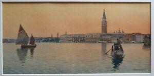 Eugenio Benvenuti (Italian 1881-1959) Venice at Sunset. Watercolour.