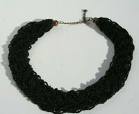 "Vintage 18"" Wide Multi Strand Braided Black Glass Seed Bead Collar Necklace"