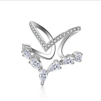 Charm Party Jewelry 925 Sterling Silver Natural Zircon Ring Size 8 Adjustable