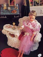 Wicker Gossip Bench, Cushion & Rug fits Barbie Doll Crochet Pattern Leaflet NEW