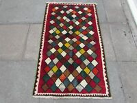 Traditional Tribal Hand Made Persian Gabbeh Oriental Red Green Wool Rug 143x85cm