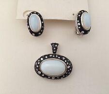 Midnight Melange Moonstone Glass Black White CZ Omega Earring Pendant Set Brass