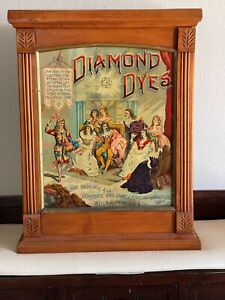 Antique Rare Diamond Dyes Joker/Jester Display Cabinet