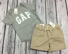 Baby Gap Boys 12-18 Months Gray Logo Shirt & Tan Brown Shorts. Nwt