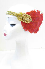 Gold Red Peacock Feather Headband Vintage 1920s Headpiece Flapper Headdress V10
