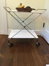 Vintage Mid Century Rolling Bar Tea Cart Serving Metal Table Folding 2 Shelves