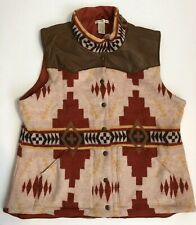 Vintage Orvis Leather Wool Western Aztec Navajo Vest XL Women's Snap up Up Rare
