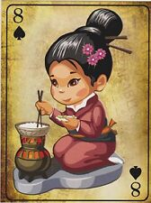 "*Postcard-""Japanese Girl dressed in Kimono...Cooking Rice"" (B355)"