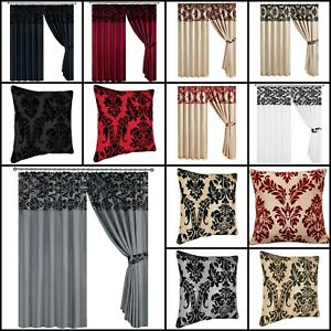 Pencil Pleat Damask Flock Curtains With 2 Tie Backs 66x72 90x90 / Cushion Cover