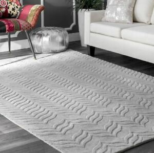Carved Chevron Gray Hand-Tufted 100% Wool Soft Area Rug Carpet