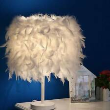 White Feather Table Lamp Metal Vintage Elegant Bedside Night LIGHT Desk Decor