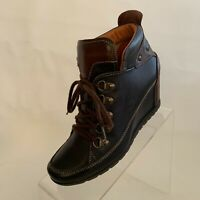 Pikolinos Womens Amsterdam Ankle Boots Wedge Black Leather Lace Up EU 37 US 6.5