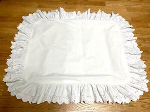 Set Ralph Lauren Bromley Patience Ruffled White Eyelet shams Pillow Covers RARE
