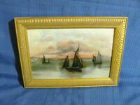 Hudson River School Antique O/C Painting  Sailboats at Twilight c.1900