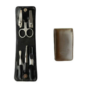 BROWN Portable Light Small 6pc Fold Manicure Set In A Leatherette Folding Holder