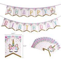 Unicorn Banner Gold Glitter Bunting Garland Flag Happy Birthday Party Decor 1PC