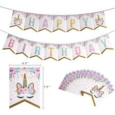 Unicorn Banner Gold Glitter Bunting Garland Flag Happy Birthday 2M Hot UK OqRnV
