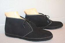 8.5 NOS Vtg 70s ANKLE BOOTIE BLACK FAUX SUEDE FLATS LACROSSE BOOT BOHO Shoe
