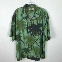 Tommy Bahamas Shirt Size L Silk Hawaiian Aloha Green Blue Palm Trees Mens
