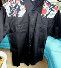 Gothic Rockabilly Living Dead Souls Men's Black Pearl Snap Shirt L (Preowned)