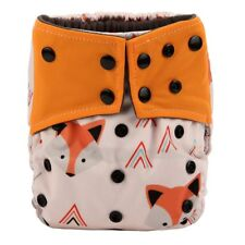 Baby Cloth Diaper Nappy Cover Bamboo Charcoal Reusable Gussets Fox