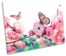 Floral Butterfly Flower  SINGLE CANVAS WALL ART Print Picture