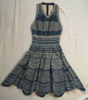 Alaia Navy Jacquard Knit Fit & Flare Scalloped Dress Size 40 Good Used Condition
