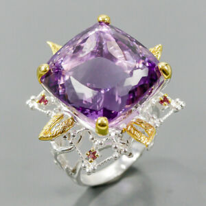 19 mm. 35 ct+ IF gem Amethyst Ring Silver 925 Sterling  Size 9 /R167602