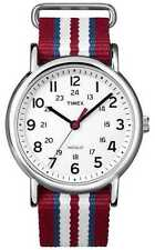 Timex T2N746 Men Weekender Watch Red White Nylon Strap Indiglo Quartz Buckle
