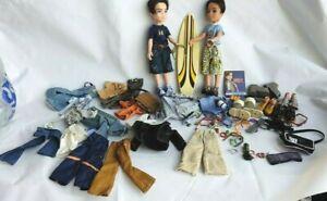 Two Vintage Bratz boy dolls,  surfer and clothes + Accessories