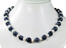 Snowflake Obsidian Chain m. freshwater pearls D-12mm