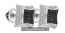 black white diamond .16 carat square stud 925 screwback earrings unisex men lady