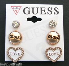 "NEW GUESS ROSE GOLD TONE+WHITE ROUND CIRCLE CRYSTAL HEART ""LOVE"" STUD EARRINGS"