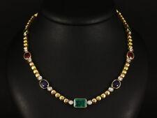 Smaragd (Kolumbien) Saphir (Pailin) Rubin Brillant Collier  35,9g 750/- GG/WG/RG